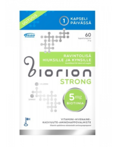 BIORION STRONG 5 MG RAVINTOLISÄ HIUKSILLE JA KYNSILLE  60 kaps