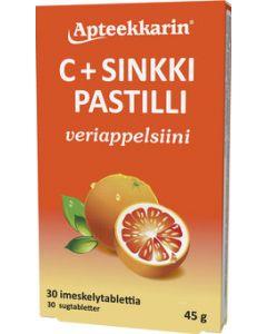 Apteekkarin C+ Sinkki pastilli veriappelsiini 30 KPL